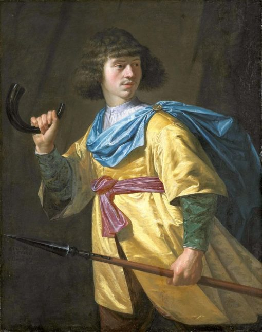Portrait of a young man with a spear and horn | Peter Danckerts de Rij | Oil Painting