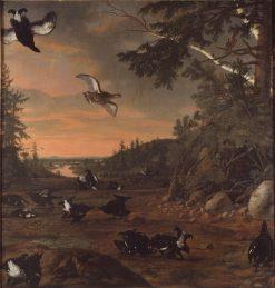 Black Cocks at Ground | David Klocker Ehrenstrahl | Oil Painting