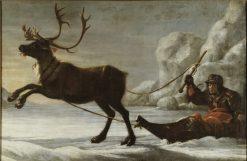 Abraham Renstirna Dressed as a Lapp and his Reindeer | David Klocker Ehrenstrahl | Oil Painting