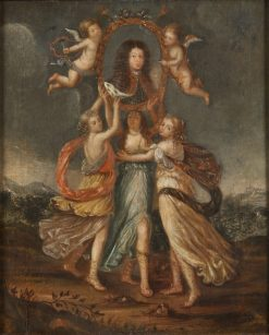 Three Allegorical Figures Bearing the Portrait of Karl XI of Sweden | David Klocker Ehrenstrahl | Oil Painting