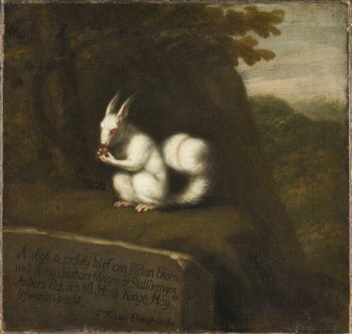 White Squirrel in a Landscape   David Klocker Ehrenstrahl   Oil Painting