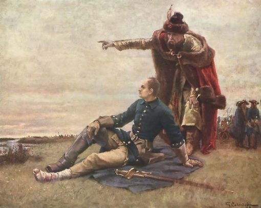 Charles XII of Sweden and Ivan Mazepa after The Battle of Poltava   Gustaf Cederstrom   Oil Painting