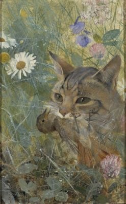 A Cat with a Young Bird in its Mouth | Bruno Liljefors | Oil Painting