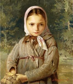Portrait of a young girl in a headscarf | Alexei Korzukhin | Oil Painting