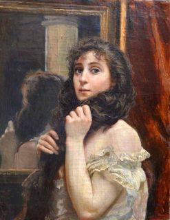Girl at the Mirror   Alexei Korzukhin   Oil Painting