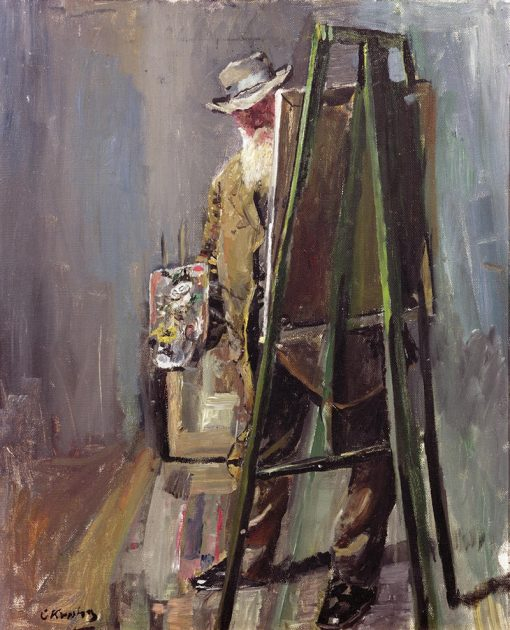 Self-portrait with Easel | Christian Krohg | Oil Painting