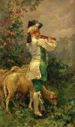 Flute Player with Sheep | Frederik Henrdik Kaemmerer | Oil Painting