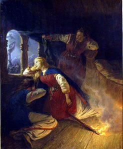 Signy and Hagbard   Josef Wilhelm Wallander   Oil Painting