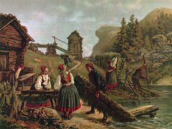 Flax Harvest   Josef Wilhelm Wallander   Oil Painting