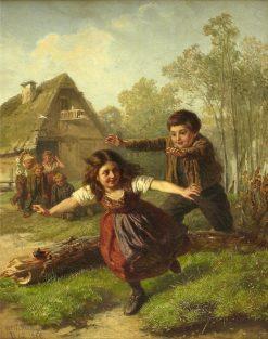 Children Playing   Josef Wilhelm Wallander   Oil Painting
