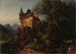 Battle Scene   Josef Wilhelm Wallander   Oil Painting