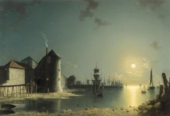 View of Southampton Harbor by Moonlight | Henry Pether | Oil Painting