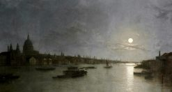 St. Pauls and the Thames by Moonlight | Henry Pether | Oil Painting