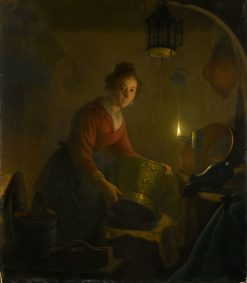 A woman in a kitchen by the light of an oil lamp | Michiel Versteegh | Oil Painting