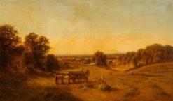 Harvesting Scene beside a Railway Track | Alfred G. Glendening