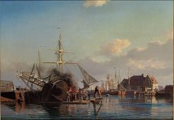 From the Port of Copenhagen. A sailing boat is being caulked. | Carl Neuman | Oil Painting