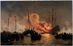The Ship Dannebroge Burning during the Battle of Køge Bay in 1710 | Carl Neuman | Oil Painting