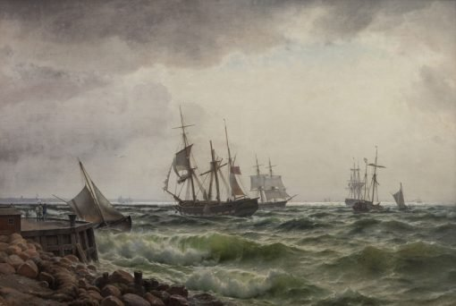 Ships near the coast after a shower | Carl Neuman | Oil Painting
