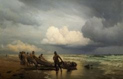 Fishermen pick up the nets at Skagen | Carl Neuman | Oil Painting