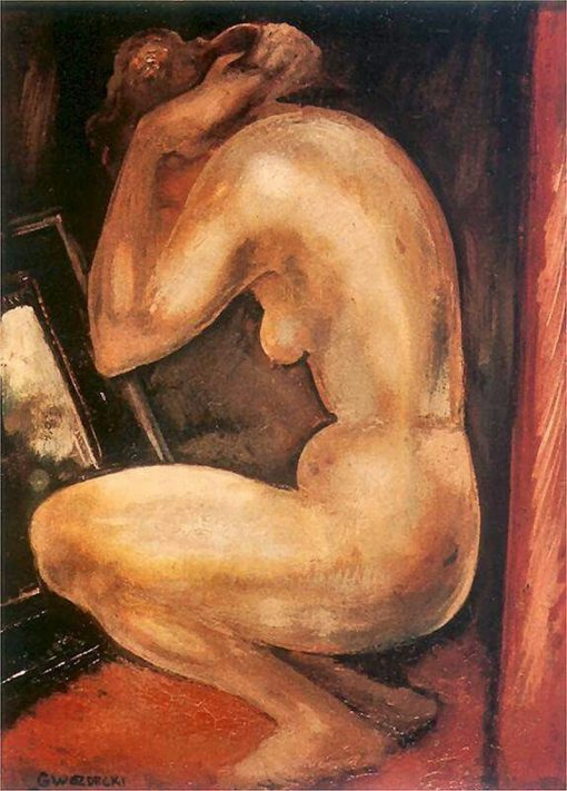 Nude by the Mirror | Gustav Gwozdecki | Oil Painting
