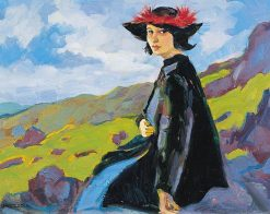 Portrait of a woman in a hat   Gustav Gwozdecki   Oil Painting