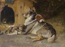 Norwegian Elkhound with Puppies   Karl Kristian Uchermann   Oil Painting