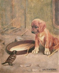 Puppy and Sparrow   Karl Kristian Uchermann   Oil Painting