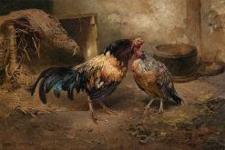 Hen and Rooster   Karl Kristian Uchermann   Oil Painting