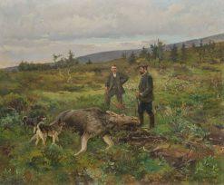 Moose Hunt   Karl Kristian Uchermann   Oil Painting