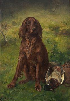 Irish Setter with a Duck   Karl Kristian Uchermann   Oil Painting