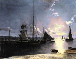 Fishing and other vessels on a moonlit estuary | Henry Pether | Oil Painting