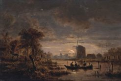 A moonlit river landscape with a boat and a windmill beyond | Henry Pether | Oil Painting