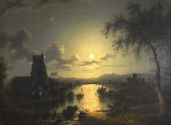 Church on a river by moonlight | Henry Pether | Oil Painting