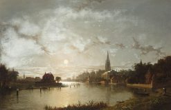 View of Marlow from the Thames by moonlight | Henry Pether | Oil Painting