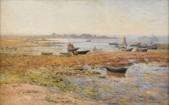 Fishing Boats at Saint Guenole | Alfred Wahlberg | Oil Painting