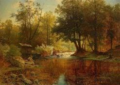 Forest Lake with Boy Fishing | Alfred Wahlberg | Oil Painting