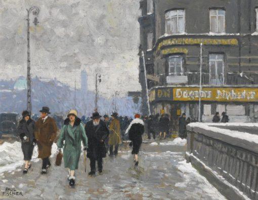 A Winter Street | Paul-Gustave Fischer | Oil Painting