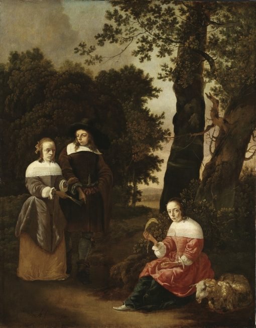 A Couple and a Shepherdess in a Landscape | Hendrick van der Burgh | Oil Painting