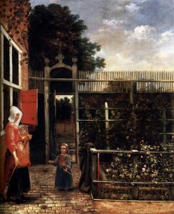 Woman with a Child Blowing Bubbles in a Garden | Hendrick van der Burgh | Oil Painting