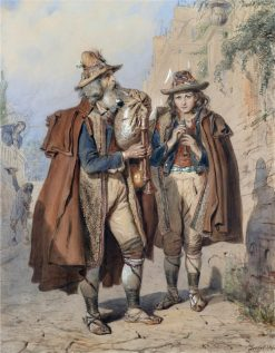 Bagpiper and Flute Player | Carl Goebel | Oil Painting