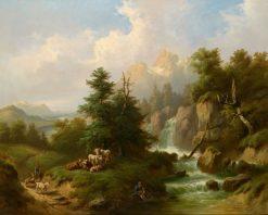 Herdsmen Resting in an Open Mountain Landscape | Karl Schweninger Sr. | Oil Painting