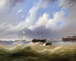 Ships on a Stormy Sea | Josef Puttner | Oil Painting