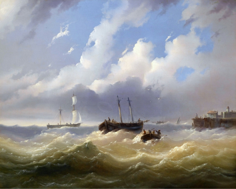 Ships On A Stormy Sea Painting Josef Puttner Oil Paintings