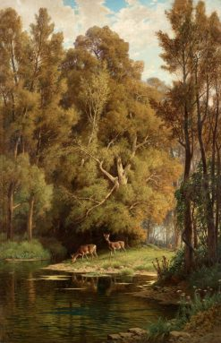 Scene in the forest with deers | Hermann David Solomon Corrodi | Oil Painting