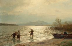 Fishing by the shore | Hans Gude | Oil Painting