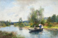 Rowing in a summer landscape | Severin Nilson | Oil Painting