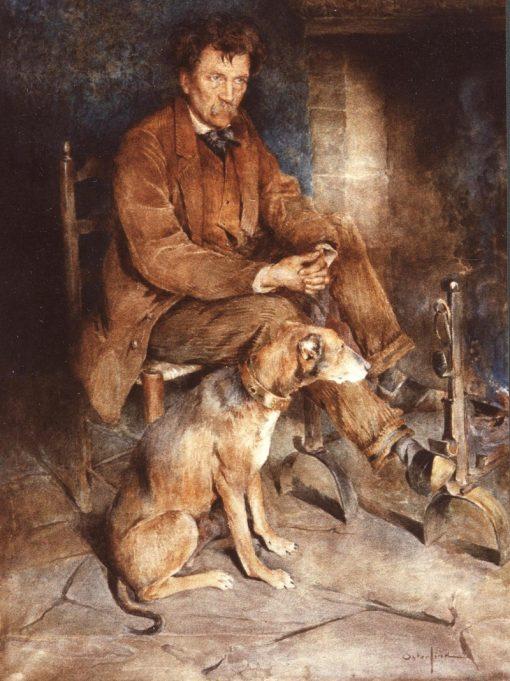 Rollinat devant son atre   Allan Osterlind   Oil Painting