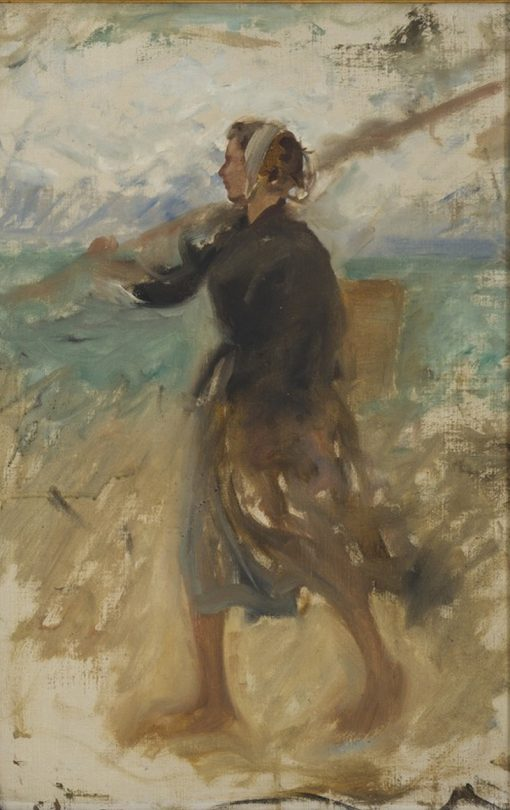 A Fishergirl from the North of France. Study | August Wilhelm Nikolaus Hagborg | Oil Painting