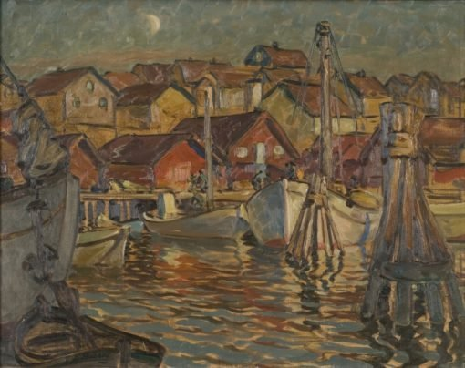 A Fishing Harbour. Study from North Norway | Anna Boberg | Oil Painting
