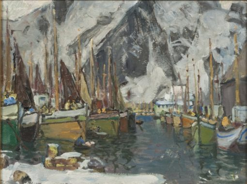 Among the Fishing Boats in Svolvaer. Study from Lofoten | Anna Boberg | Oil Painting